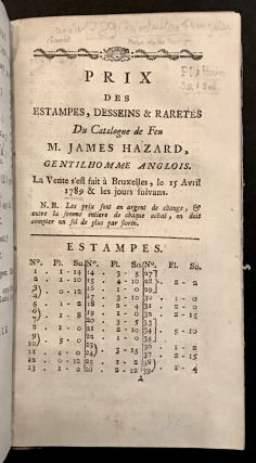 Catalogue Raisonné…D'Estampes Et De Desseins. James HAZARD